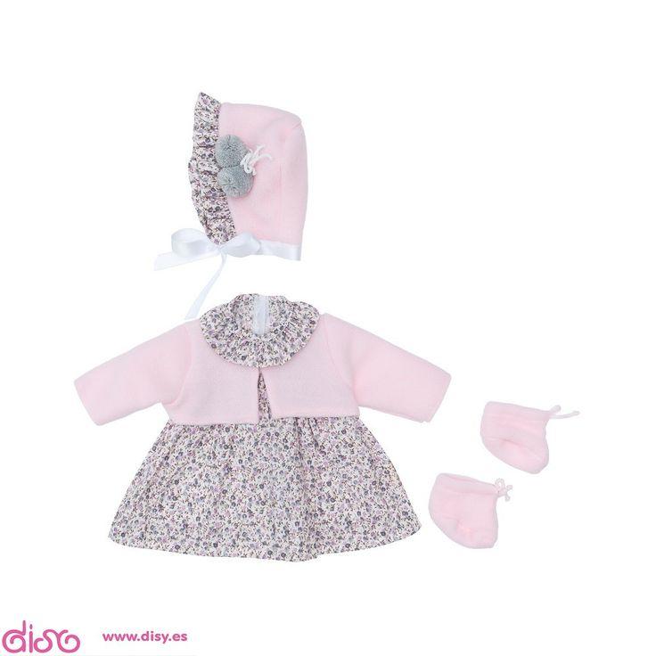 #accesoriosparamuñecasbebé -Vestidos para muñecos bebés - Vestido flores grises y chaqueta rosa (46cm) www.disy.es