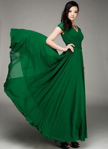 d12af9ae8 Cap Sleeve Green Maxi Dress with V Neck   Ruched Waist Yoke RM157 ...
