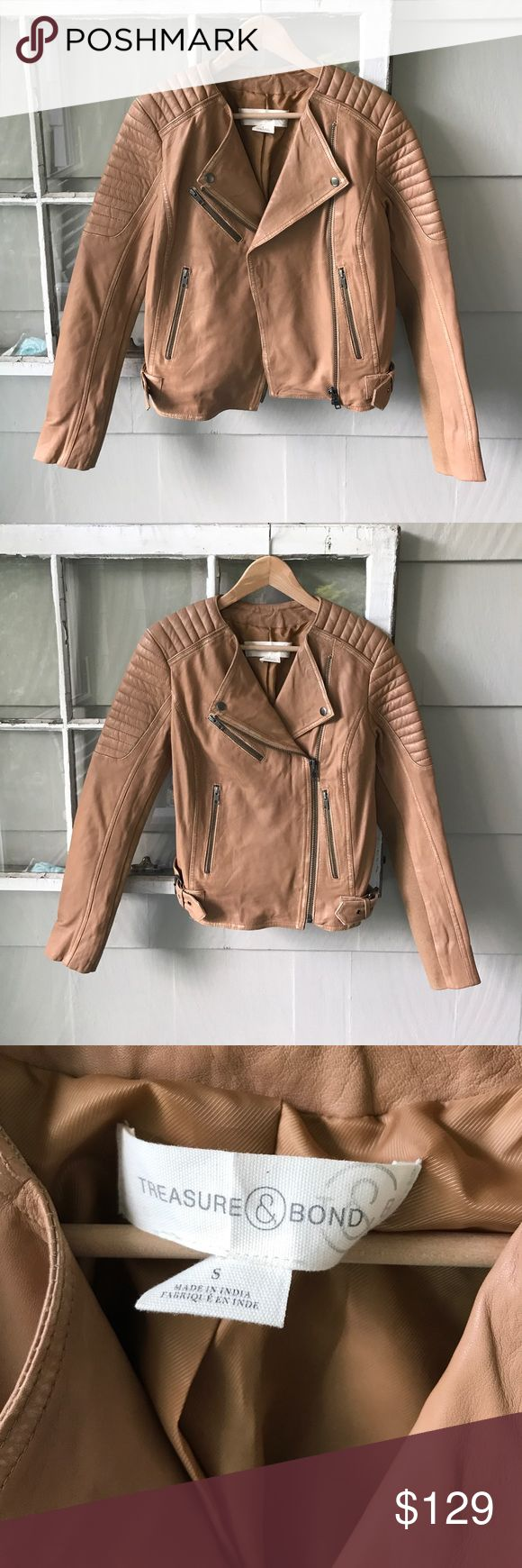 Treasure & Bond Nordstrom Camel Leather Biker Moto Soft, Buttery Leather Jacket by Treasure & Bond from Nordstrom. Excellent condition. Camel color. Fully lined. No issues! This looks great with cutoffs and a white tank for cool summer evenings. No trades, please. Selling for a friend! Size small, fits like a 4. Treasure & Bond Jackets & Coats