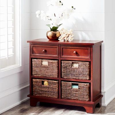 Holtom Chestnut Brown Drawer & Basket Storage  | Pier 1 Imports