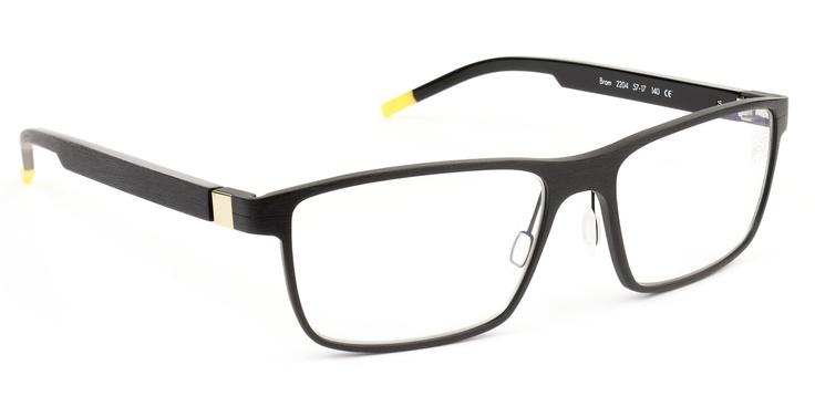 De Stijl Holland 1924 eyewear: men eyeglasses frame BRAM in color 2204 brushed matte black with gold accents, aluminum front, plastic temples. Size 57-17 140. More colors http://lookouteye.com/Bram/