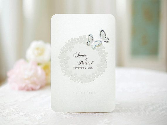 Custom White Name Title Silver Foiled Butterfly Wedding Invitations - SM1506 - Free Envelopes & Silver Seals - Free Shipping Promotion