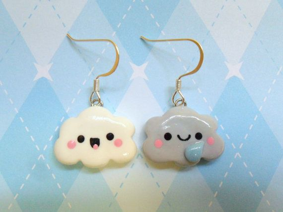 Kawaii Cloud Polymer Clay Earrings Cute Chibi Novelty Jewelry via Etsy
