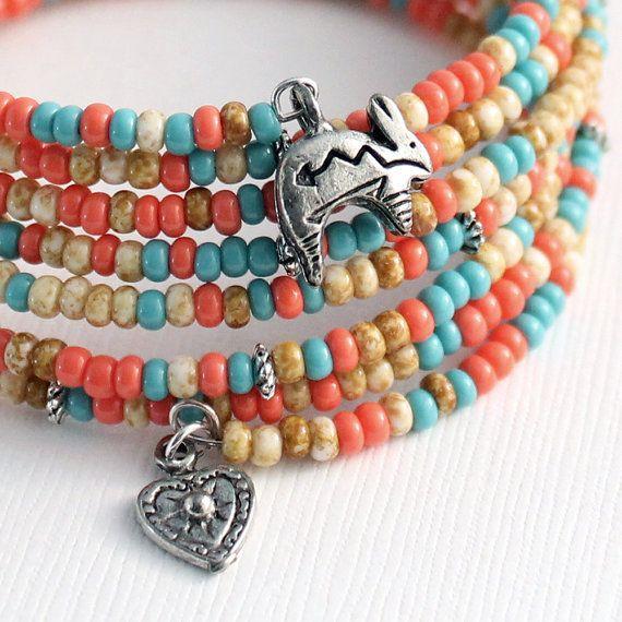 Memory Wire Bracelet Southwest Colors Rabbit Charms by Buntique