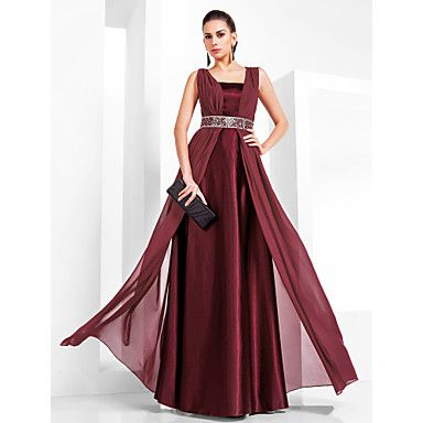 Sheath/Column Square Floor-length Chiffon And Stretch Satin Evening Dress – USD $ 79.29