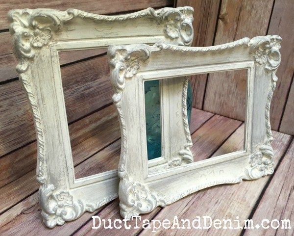 Painted Frames ~ Thrift Store Decor Upcycle Challenge ~ easy chalk paint DIY ~ DuctTapeAndDenim.com