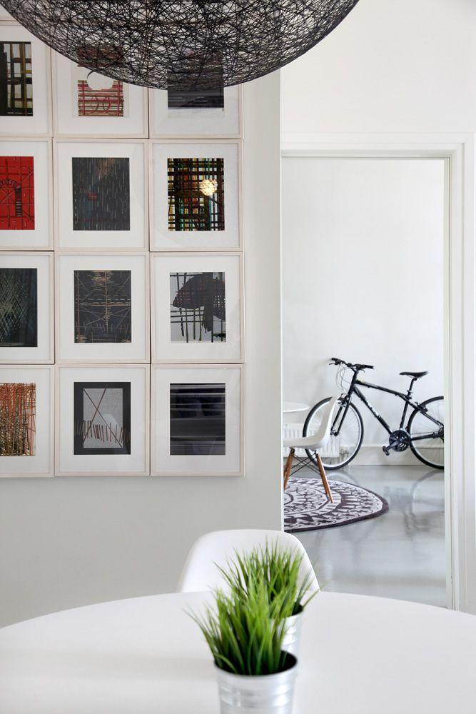 Loft in Athens, minimal, white, design, art, bicycle