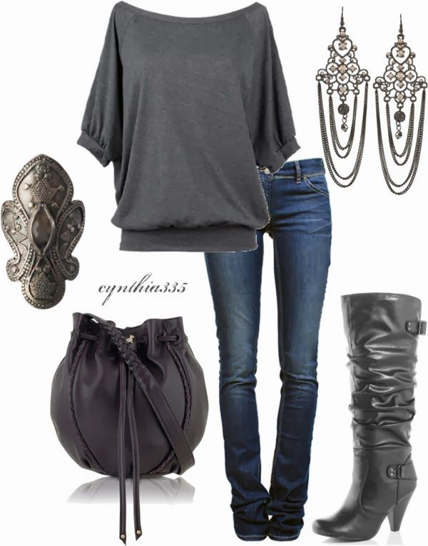 Casual Outfits | That Ring: Off-Shoulder Tee, Etoile Isabel Marant jeans, Black high boots, Purple Wigmore bag, Lipsy Chandelier earrings