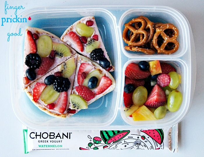 Here's what's inside: No-Bake Fruit Pizza (pita bread, low carb tortilla, etc., topped with strawberry cream cheese, and fresh fruit)= 22 carbs Fresh Fruit (strawberries, grapes, pineapple, blueberries, pomegranate seeds, kiwi, raspberries, & blackberries)= 17 carbs Baby Carrots (not pictured)= 2 carbs Chobani Yogurt Tube= 7 carbs Pretzels= 12 carbs Lunch Total=  60 carbohydrates