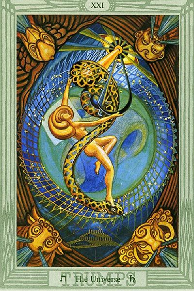 XXI The World/Universe. Usually known as The World, this is one of the best cards to have in a spread.