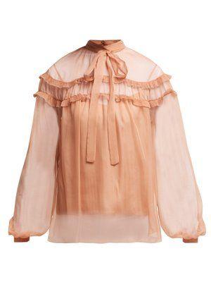 8201c1a5f20a0c Ruffle-trim silk chiffon blouse by Rochas