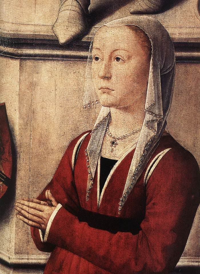 pearled headgear on a burgundian (Hans Memling, The Last Judgement triptych)