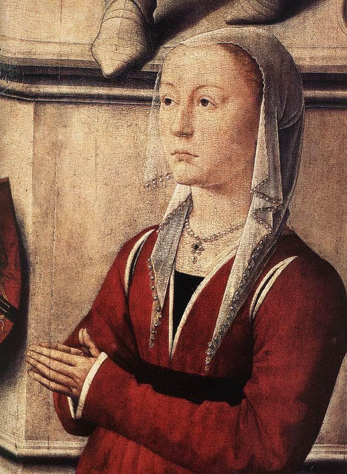 pearled headgear on a burgundian (Hans Memling, The Last Judgement triptych)