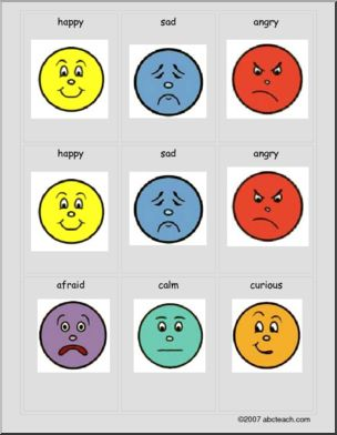 "Card Game: Eight Emotions (ESL) - Play ""Go Fish"" or ""Concentration"" with this set of eight basic emotions. Elementary."