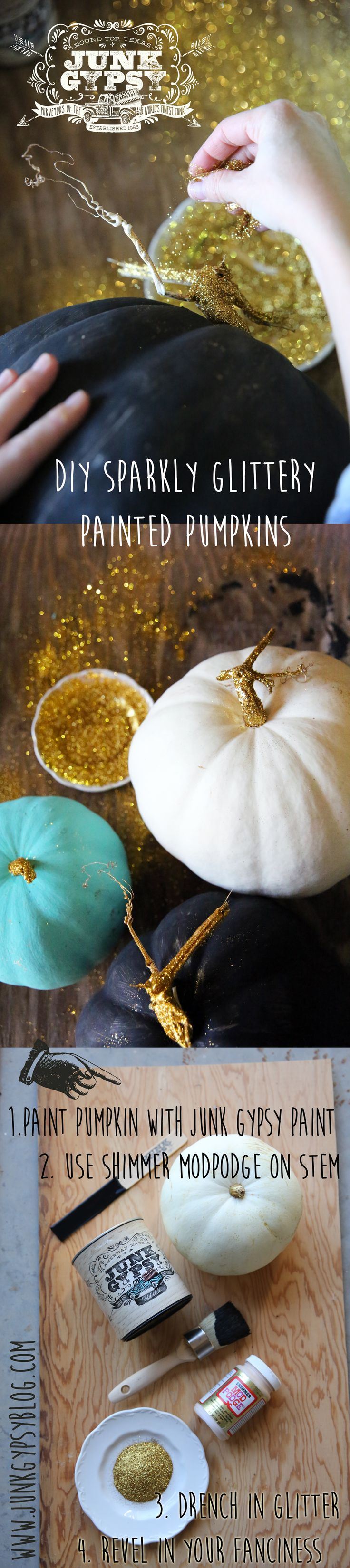 diy sparkly glittery painted pumpkins {junk gypsy co.}