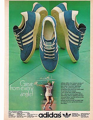 (3) 1980's Classic Adidas Tennis Shoe Print Ads with Billie Jean King