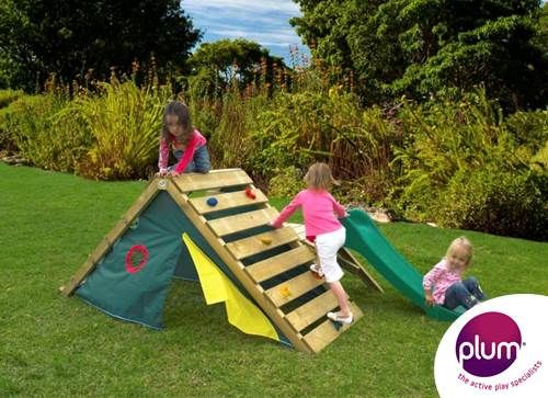 Plum® My First Play Centre Wooden Climbing Frame - . Packed with fun features this climbing frame is ideal for agile and active outdoor play for young kids. The climbing frame includes a rock wall with multi-coloured hand and foot grips, climbing net, play den with door and window, a 4ft slide and play deck.