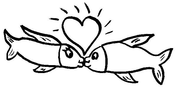 Kissing Fish Under Shining Heart Coloring Pages - Download ...