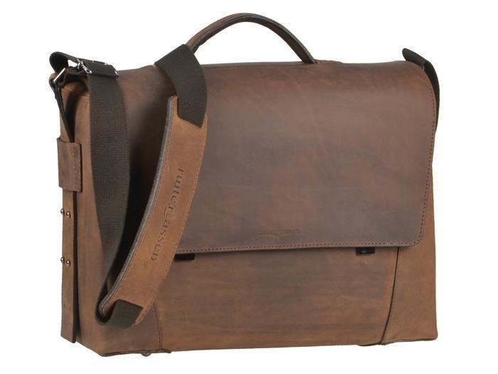 Aktentasche Leder Damen Herren Umhängetasche modern 3 Fächer ranger braun Tasche Schultertasche Lehrertasche Businesstasche