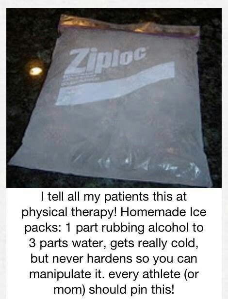 My husbands physical therapist used this exact ice pack n they said its the best. I made some for home I used green food coloring & put mr yuck on the bags & educated my kids that these are not to be put in mouth at all :)