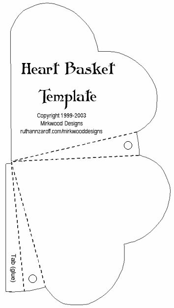 Mirkwood Designs - Heart Basket Template. Note Main website has a variety of templates