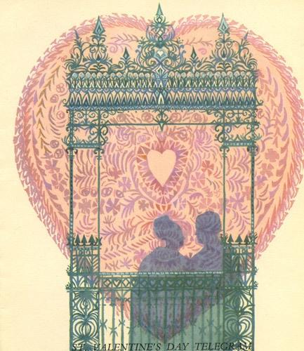 Valentine's Day greetings telegram, issued 14 February 1961, designed by Rosemary Kay.