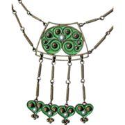 Gustav Gaudernack for David Andersen. Silver necklace with green plique-a-jour enamel. 1905-1910