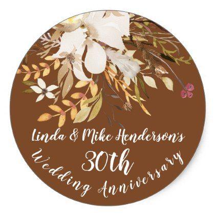 Anniversary Celebration Sticker - Soft Rustic - wedding stickers unique design cool sticker gift idea marriage party