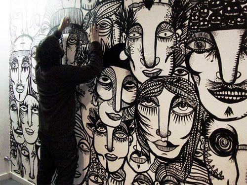Guilherme Kramer of Sao Paulo spent a year covering a wall with faces of the people he sees in crowds each day.: Art Stuff, Artists Doodles, Drawings People, The Crows, Illustration, Crowd By Guilherm Kramer, L Artists, Art Shit, Kramer Artworks