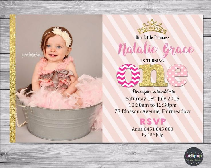 PRINCESS INVITATION 1ST BIRTHDAY PERSONALISED PHOTO INVITE FIRST PINK GOLD GIRL #custominvitations #birthdaychild http://www.lollipoppartysupplies.com.au