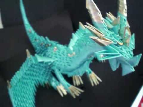 ▶ 3d origami blue dragon! - YouTube