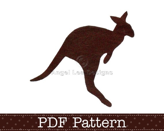 Applique Template, Kangaroo, Animal, Australian Native Wildlife, DIY, Children, PDF Pattern by Angel Lea Designs