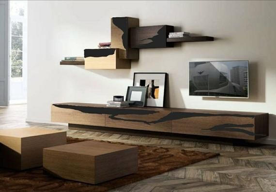 Custom Order For Steve From Us Walnut Black Resin Tv Media Centre Set In 2021 Living Room Tv Unit Living Room Tv Wall Decor