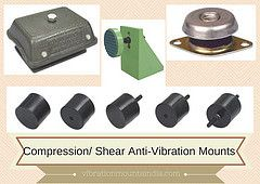 COMPRESSION/ SHEAR Vibration Damping MOUNTS         Dynemech Compac Machinery Mounts uses eleastomeric rubber compound in compression and shear. They provide tight tolerances on stiffness rate for accurate vibration calculations. Load range is from 40 to 130 Kgs per piece. The strong base metal withstands high shock loads without deformation. Fitted as standard with a shock-proof device (up to 4.5g) with resilient stop, it is ideal for mobile or marine use. It has a domed shape cover to…