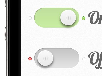 Great little detail. On Off Switch for iOS App by Cosmin Neagu (link to 40 innovative ui ideas from dribble)