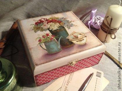 "Чайная шкатулка ""Винтажная весна"" - чайная коробка,чайная шкатулка,шкатулка"