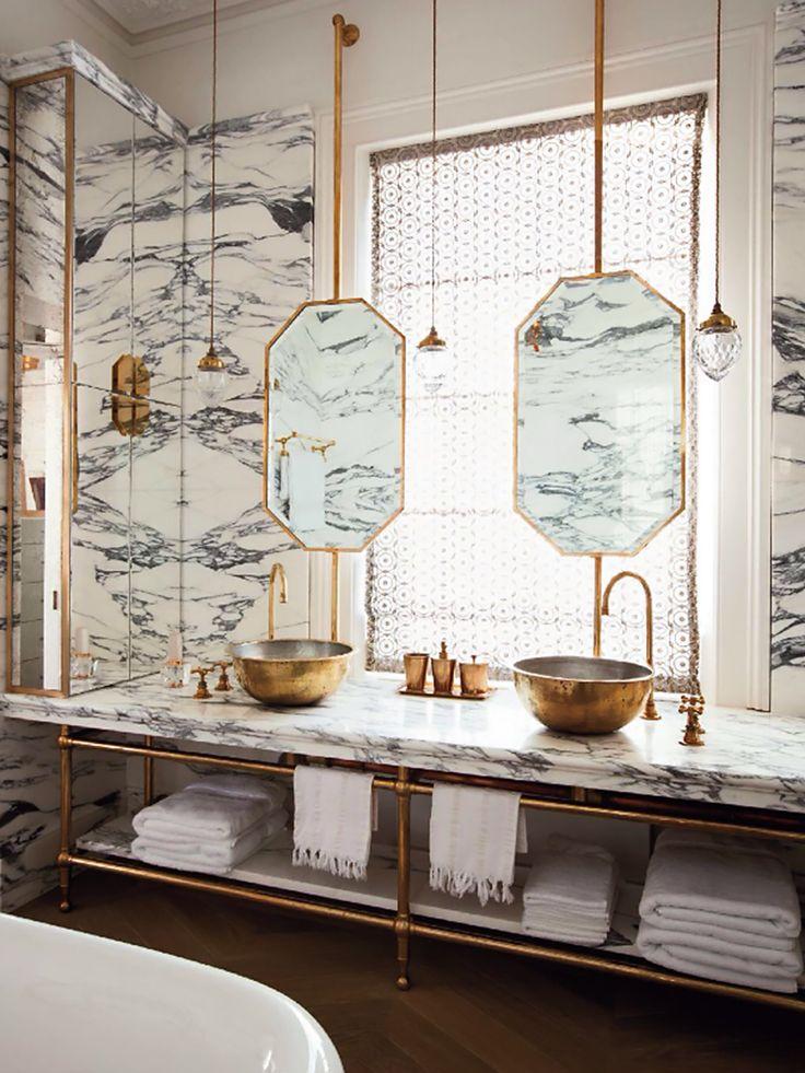 Gorgeous #plumbing fixtures, golden sinks, and elegant mirrors in this #bathroom remodel. www.PlumbingPlus.net