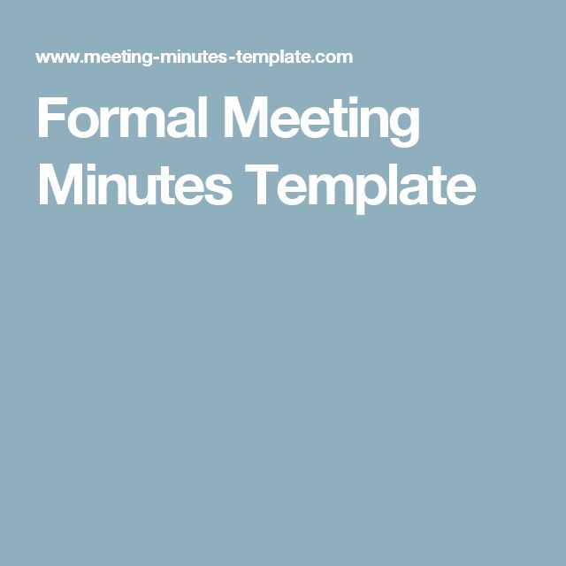 Formal Meeting Minutes Template  NonProfit Board Meetings