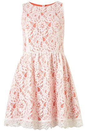 sleeveless lace dress via topshop