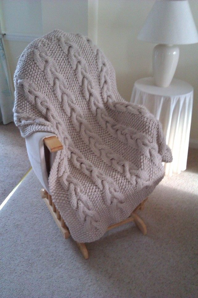 Handmade in Wales. Beautiful Big Knit Cable Throws £65.00