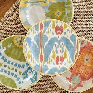 Ikat Stonewarea Salad Plate, Set of 4, Multi - Four traditional ikat designs are re-created on our stoneware plates, each trimmed with a gol...