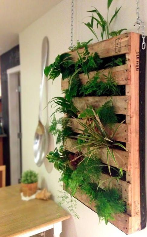 Home Decor, The Natural Wooden Planter And Living Wall Planter With The Simple Ways To Make It With The Green And Fresh Plants In The Dining Room With Big Spoon For Wall Decoration Also The Wooden Table ~ The Beautiful Design Of How To Make A Living Wall Planter