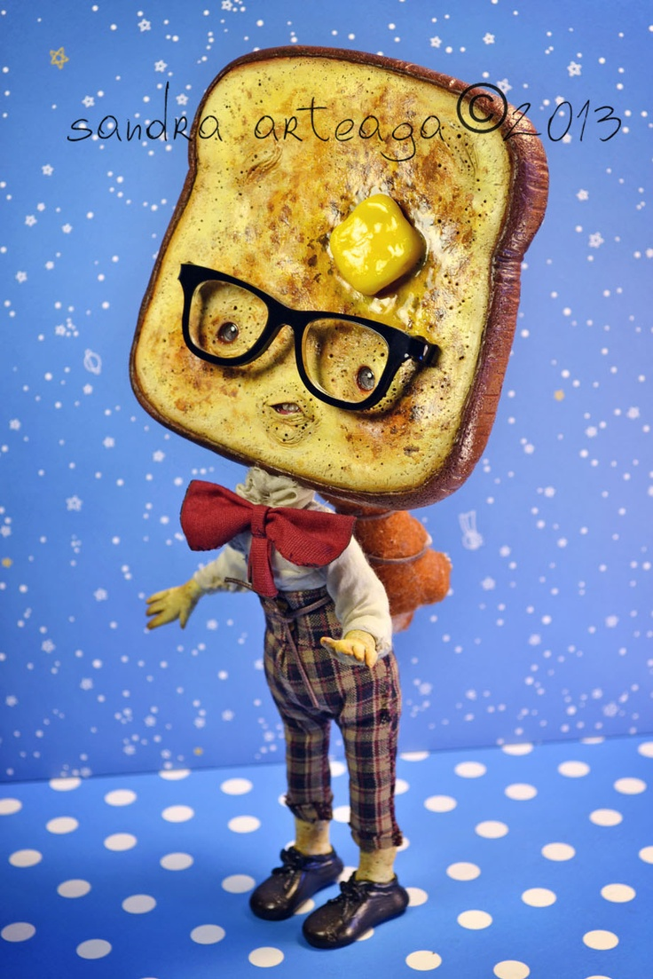 Butter Keaton  and Calatea  - Another version of the buttered cat paradoX - art doll ooak toast nerd freak doll sculpture. By Sandra Arteaga