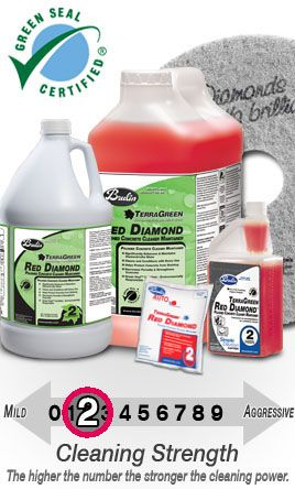 Terragreen red diamond from brulin company is a green for Polished concrete cleaning products