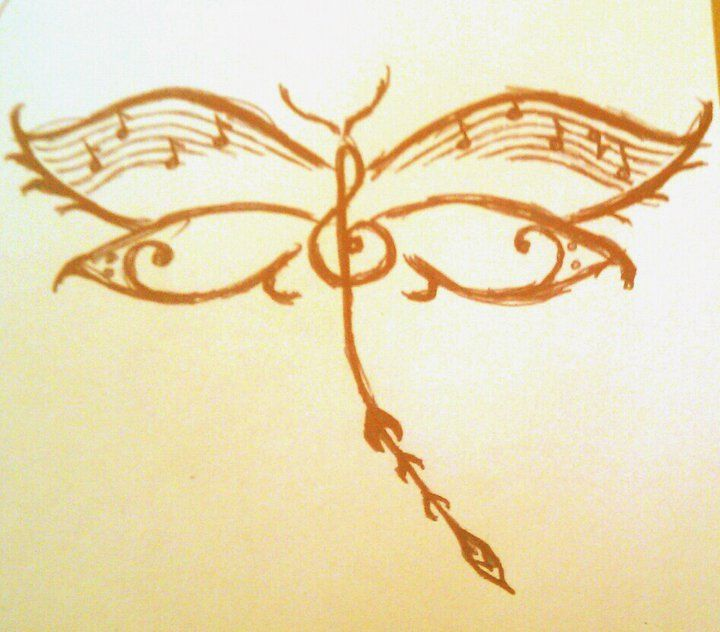 music note dragonfly tattoo | Dragonfly Music - Rough Sketch by Lyds0390 on deviantART