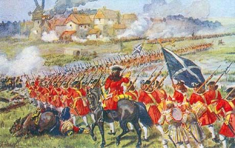 """The British 26th Foot, the """"Cameronians"""", at the Battle of Blenheim,  marching to assault the village of Blenheim"""