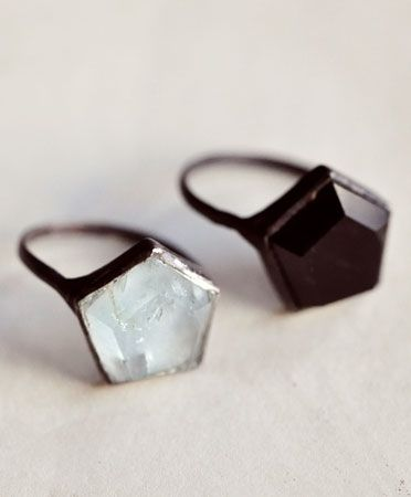 Hex ring | aquamarine or onyx | Aesa