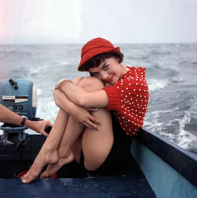 natalie wood on a boat ride in the mid 1950s