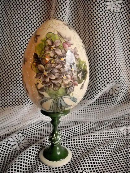"""Яйца ручной работы. Ярмарка Мастеров - ручная работа яйцо интерьерное""""Фиалки"""". Handmade."""