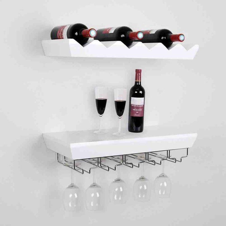 Wall Mounted Bottle Wine Rack Shelves With Glass Holder Set, White  Contemporary Wine Racks